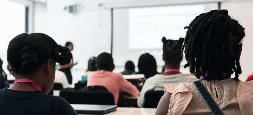 A classroom filled with black children